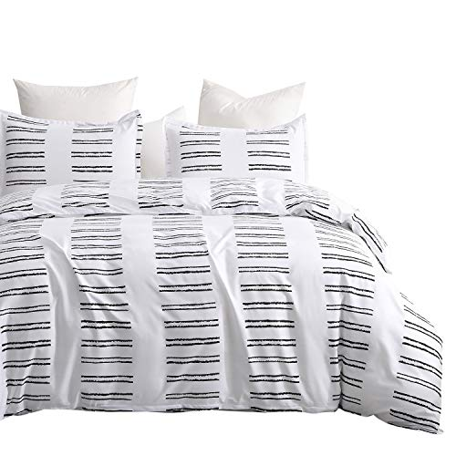 DeerHome Bedding Duvet Cover Set Queen with Zipper Closure, Zebra Crossing Printed Pattern Reversible, Brushed Microfiber, Lightweight Soft, Durable
