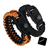 2 Packs Survival Kit Paracord Bracelet, xhorizon TM SR 5 in 1 Survival Kit Paracord with Compass, Flint Fire Starter, Emergency Knife & Fire Scraper, Emergency Whistle - Great for Hiking Camping Gear
