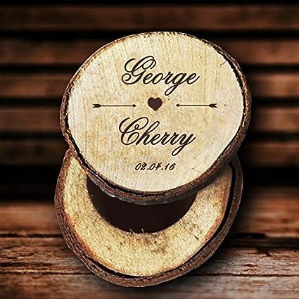Nombre de novia y novio personalizado anillos de boda caja madera Custom FECHA anillo soporte para