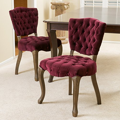 Christopher Knight Home 230345 Violetta French Design Dining Chairs (Set of 2), Purple