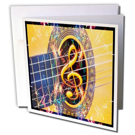 Florene - Music - Image of Acoustic Guitar Closeup - 12 Greeting Cards with envelopes (gc_233677_2)