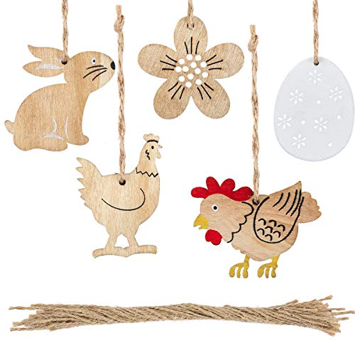 Biubee 24 pcs Easter Wooden Cutouts Wood Slices Egg Chicken Rabbit Flower Shaped Hanging Ornaments Decorations with Jute Twine for Easter Decorations Party Favors Kids Crafts