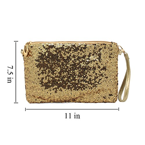 Glitter Bling Gold Sequin Purse Clutch Mermaid Evening Women's Holographic Bag Naimo qE14gtnx