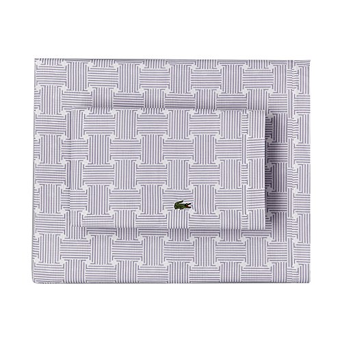 Lacoste 100% Cotton Percale Pillowcase Pair, Geo Compass Print, Lavender, Standard