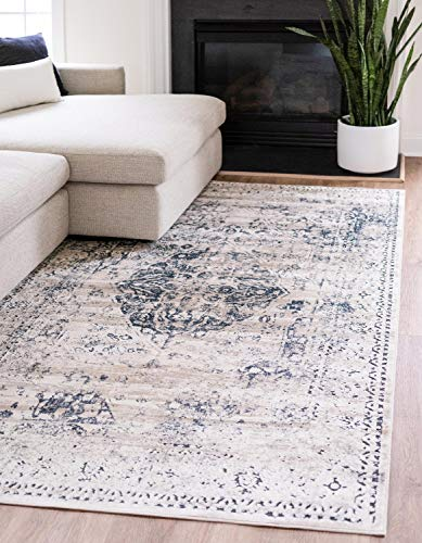Unique Loom Chateau Collection Distressed Vintage Traditional Textured Dark Blue Area Rug (5' 0 x 8' 0) (Blue Rugs Traditional)