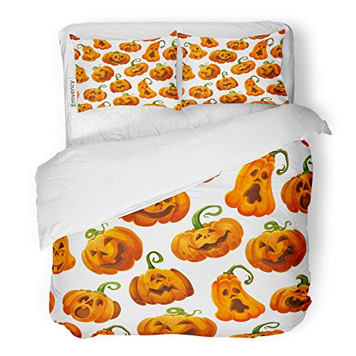 Emvency 3 Piece Duvet Cover Set Brushed Microfiber Fabric Breathable Halloween Pumpkin Monster for October Holiday Orange Jack O Lantern Autumn Bedding Set with 2 Pillow Covers Full/Queen Size