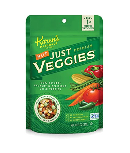 Karen's Naturals Hot Just Veggies, 3 Ounce Pouch (Pack of 6) (Packaging May Vary) All Natural Freeze-Dried Fruits & Vegetables, No Additives or Preservatives, Non-GMO (Pasta Dried)