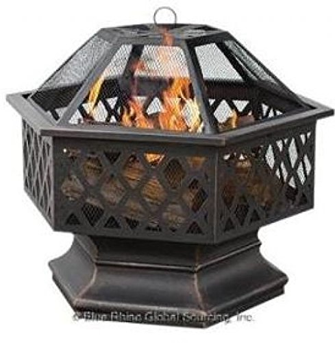 (Ship from USA) Deep Bronze 6-Sided Lattice Wood Burning Fire Pit Bowl and Wood Grate New /ITEM NO#8Y-IFW81854265540 by Rosotion