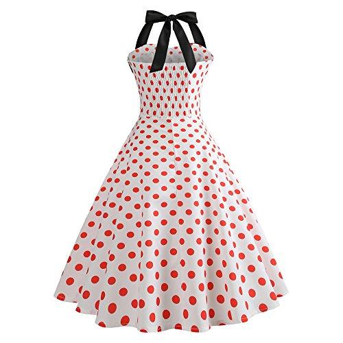 de Lonshell Hepburn Robe Robe up 1950 Imprim Floral Dcontracte Moulante pin Soire Vintage Femmes Manches Orange de Soire Cocktail Audrey Style Robe 's Licou qFSzxEwZC