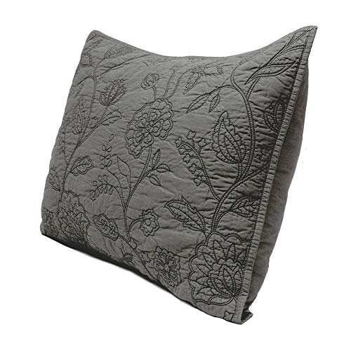 Elegant Life 100% Cotton Night Blossom Floral Pattern Embroidery Pillow Shams, Standard Size Pillow cover, 20
