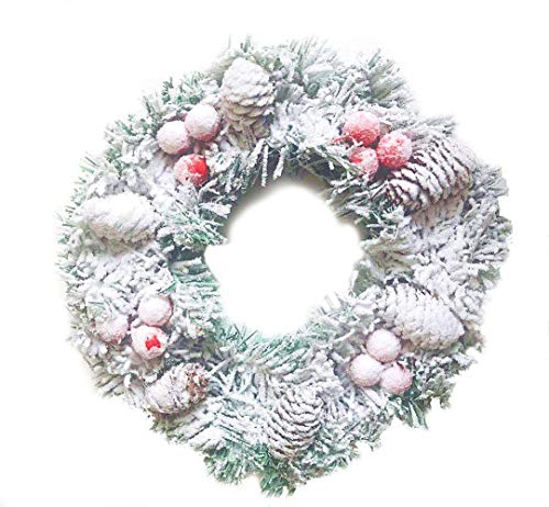Siger 12 Inch Christmas Wreath Party Door Wall Wreath Pine Cones Berries Home Hotel Office Decoration(Red Berries)