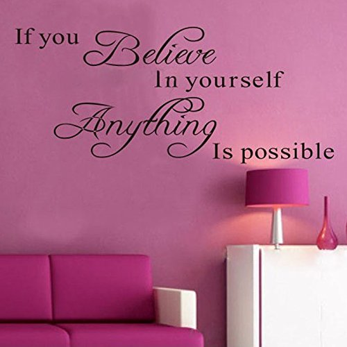 JHKUNO Wall Décor Stickers, Believe Anything is Possible Inspirational Wall Sticker Decals DIY BK (Black)]()