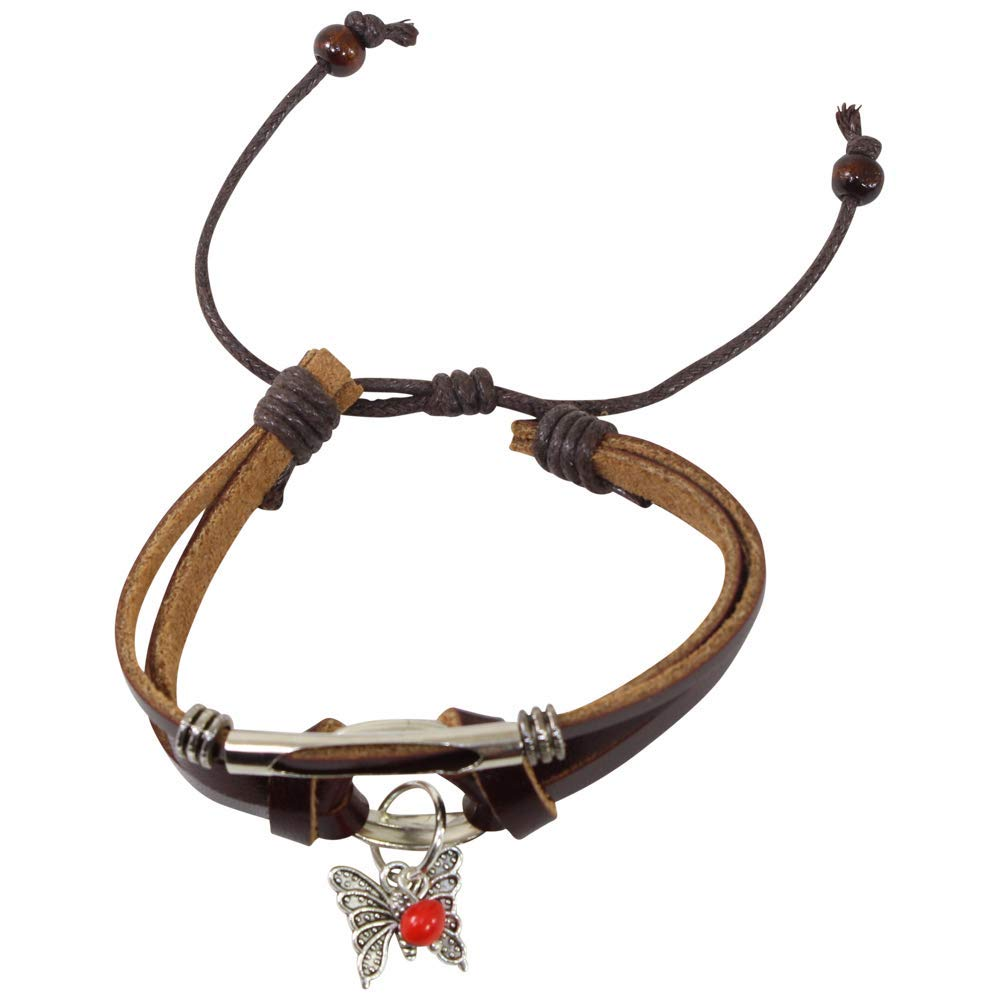 Eco-Friendly Meaningful Butterfly'Joy in Life' Gift Charm Bracelet for Women - Huayruro Red Seeds, Brown leather, Butterfly Charm - Handmade Jewelry by Evelyn Brooks
