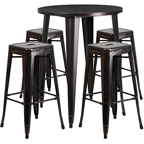 Flash Furniture 30'' Round Black-Antique Gold Metal Indoor-Outdoor Bar Table Set with 4 Square Seat Backless Stools