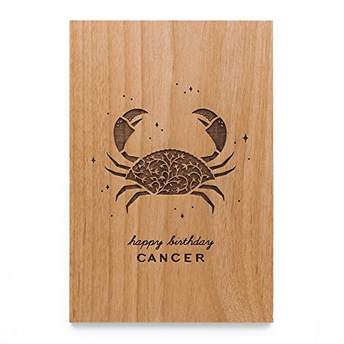 Happy Birthday Zodiac Sign Laser Cut Wood Card - All signs available (Greeting Card / Birthday Gift / Personalized Available)