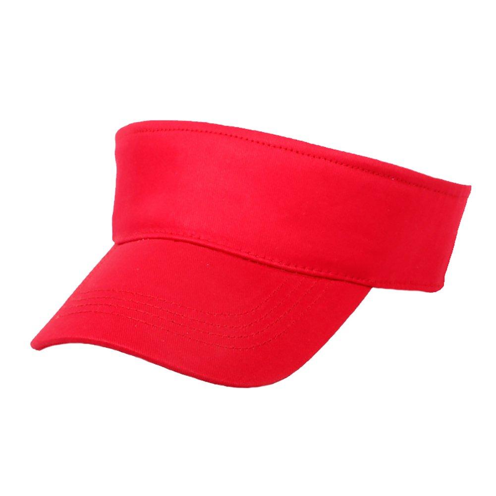 Opromo 100% Cotton Kids Visors Children Adjustable Plain Sports Visor Sun Cap-Red-12 pcs