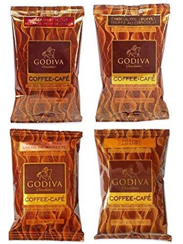 Godiva Chocolatier Flavored Coffee 4 Flavor Variety Sampler Bundle: (1) Godiva Breakfast Blend, (1) Godiva Chocolate Truffle Coffee, (1) Godiva Caramel Coffee, and (1) Godiva Hazelnut Creme, 2 Oz. Ea