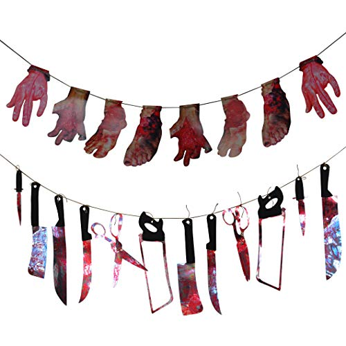 Topbuti Set of 2 Halloween Banner Buntings-12pcs Bloody Weapons Garland Knifes Saws Scissors 8pcs Bloody Broken Hands Foots Banner Halloween Supplies Props for Zombie Vampire Party Decorations