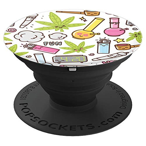 Marijuana Leaf Bong Joint Pipe Pattern - PopSockets Grip and Stand for Phones and Tablets