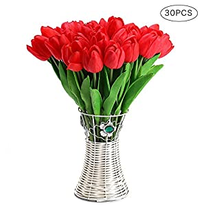 CCINEE 30Pcs/Bag PU Holland Mini Tulip Artificial Flower Real Touch for Wedding,Room,Home,Hotel,Party Decoration 33