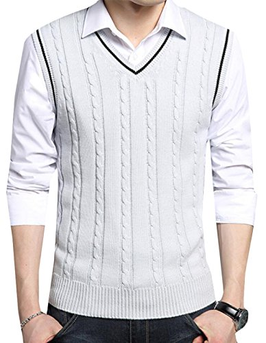 70off Gaga Mens Casual V Neck Cable Knit Sleeveless Sweater Vest