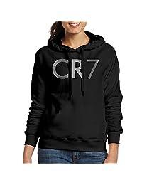 QKNKOP Women's Cristiano Ronaldo CR7 Logo Platinum Style Hoodie-Black