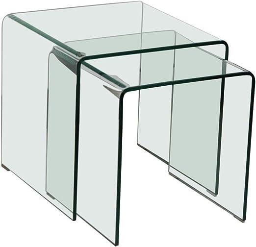 BHP Mesa de Cristal Extensible 2tlg salón Comedor Mesa de la ...