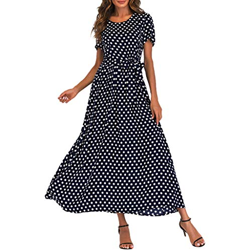 - Summer Women's Sleeveless Scoop Neck Striped Loose Beach Long Maxi Dress Sundress Casual (XL, Navy (Polka Dot))