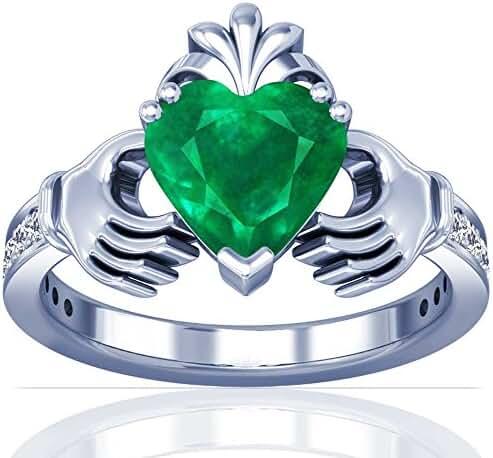 Platinum Heart Cut Emerald Ring With Sidestones