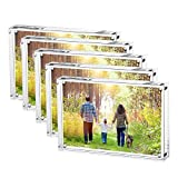 Boxalls Magnetic Photo Frame Clear Acrylic Picture Frames Double Sided, Stand In Desk, Table and Cabinet (6x8-Horizontal-5 Packs)