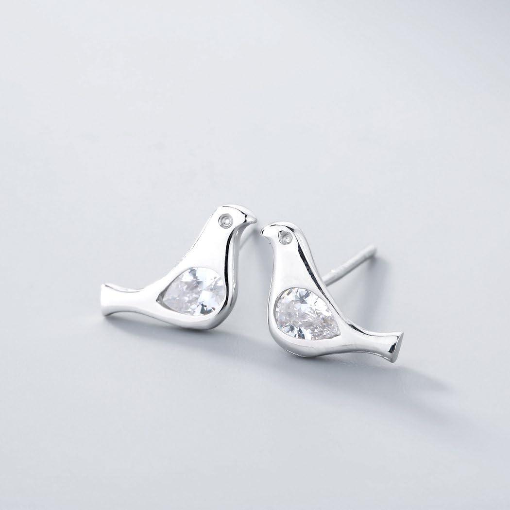 Boucles d/'oreilles /à tige en argent sterling 925 en forme d/'oiseau de pigeon avec cristal blanc transparent anti-allergie