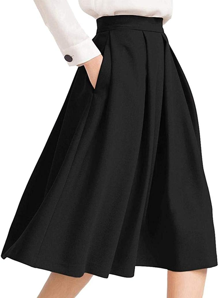 TOPUNDER High Waisted Midi Skirt with Pocket for Women Skirts Flared Pleated Below Knee