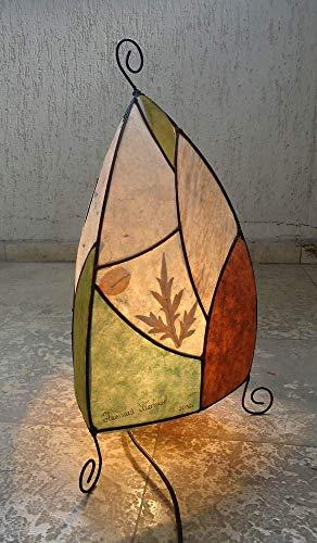 Nepalese Lokta Paper Lamp Shade, Nature Inspired Decor, Pyramid lamp shade metal construction, Paper Collage Lampshade by VPFinishDesign