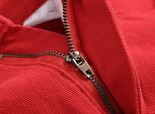 Di A Casuali Jeans Elasticizzati Pantaloni Vita Uomo Giovane Unita Strappati Dritti Bassa Per Tinta Skinny Rosso wH7q7Bx