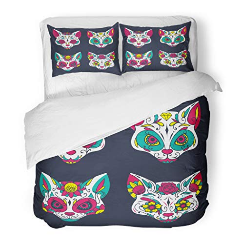Emvency Bedding Duvet Cover Set Twin (1 Duvet Cover + 1 Pillowcase) Dead Colorful Sugar Cat Skull Day Tattoo Mexico Hotel Quality Wrinkle and Stain Resistant for $<!--$89.90-->