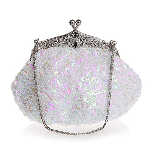 Formal Clutch Fully Purse Mesh Sequined Women Antique Clutches Beaded Wedding White Evening Cocktail Style qwaPaCz6