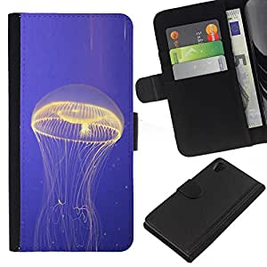 All Phone Most Case / Oferta Especial Cáscara Funda de cuero Monedero Cubierta de proteccion Caso / Wallet Case for Sony Xperia Z2 D6502 // Jellyfish Glowing Ocean Blue Sea Nature