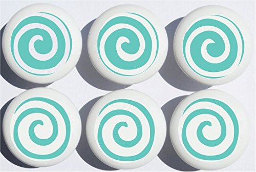 Aqua Blue/Green Swirly Spiral Polka Dot Drawer Knobs/Whimsical Swirls Ceramic Cabinet Pulls for Nursery or Children