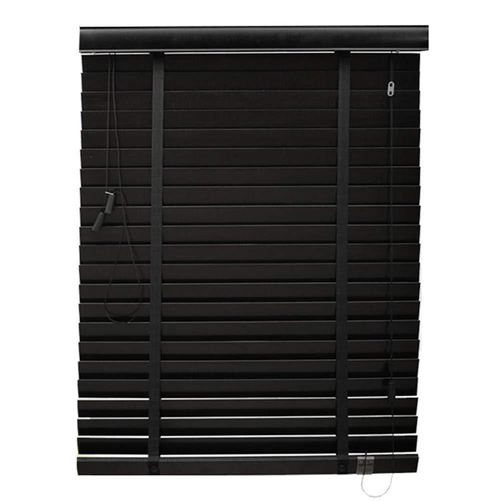 WUFENG Jalousien Massivholz Schattierung Sonnencreme Wasserdicht Wohnzimmer, Mehrere Größen Kann Angepasst Werden Türvorhang (Farbe   SCHWARZ, größe   100x180cm)