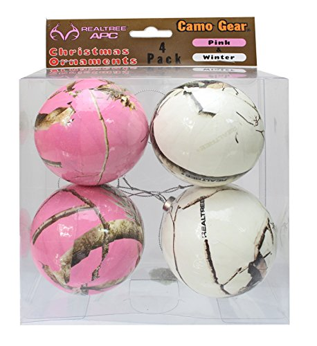 Pink and White Camouflage Christmas Ornaments - 4 Pack - Next Camo by Havercamp -
