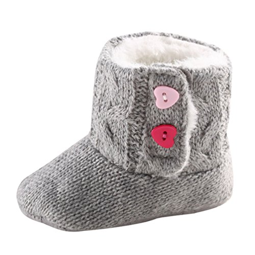 CHENGYANG Babyschuhe Mädchen Neugeborene Weiche Rutschfest Stiefel Warm Schneestiefel Winterstiefel Grau#12