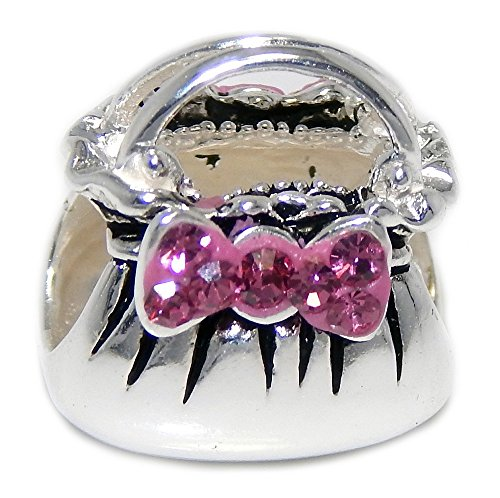 Pro Jewelry 925 Solid Sterling Silver Purse with Pink Crystal Bow Charm Bead