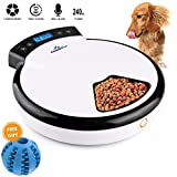 Automatic Pet Feeder Pet Dish with Intelligent Real Voice Recorder Timer Food Dispenser with LCD Display and 240ML 5 Capacity Dry & Wet Food for Cats, Dogs, and House Animals (Gift Random Color)