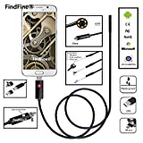 FindFine® Black 2M 6.5FT Cable 5.5mm Lens 2 In 1 Dual Usb Android Endoscope HD Waterproof Snake Borescope USB Camera For Android Smartphone or Windows PC