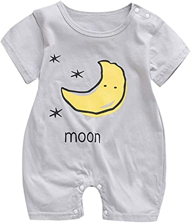 Newborn Baby Boy Girl Short Sleeve Sun Cloud Moon Print Romper Jumpsuit Clothes