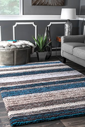 China Polyester Rug - nuLOOM Classie Solid Shag Rug, 4' x 6', Blue Multi