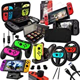 Switch Accessories Bundle - Orzly Geek Pack for Nintendo Switch: Case & Screen Protector, Joycon Grips & Racing Wheels, Switch Controller Charge Dock, Comfort Grip Case & More - JetBlack