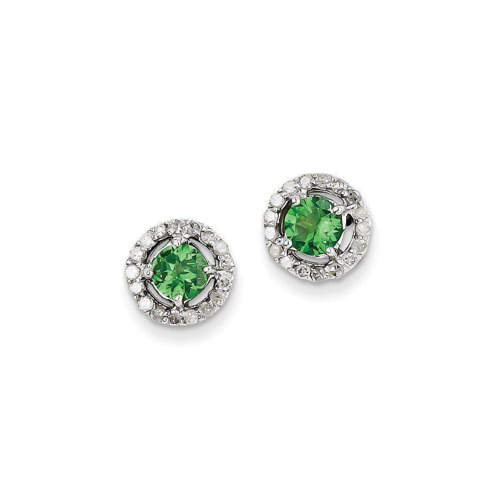 Sterling Silver Rhodium Diamond & Tsavorite Garnet Circle Post Earrings