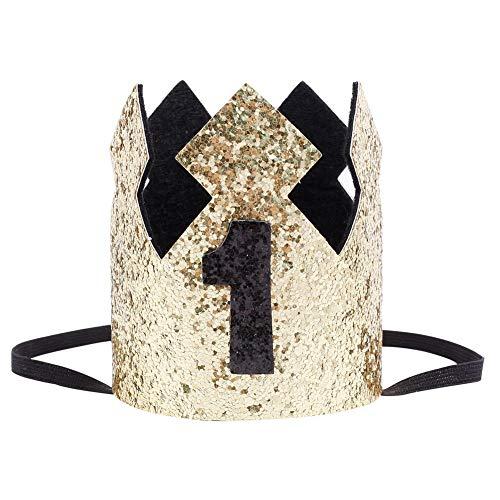 MuYiTai Baby Boy First Birthday Crown Hat Gold Glitter black -