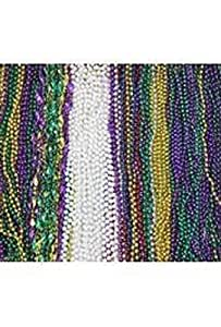 Mardi Gras, Blow Out Bead Mix in Zipper Bag, 42 Dozen (504pcs).